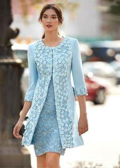Carla Ruiz 2018 Light Blue Mother Of The Bride Dresses With Jacket Sheath Knee Length Wedding Guest Dress Arabic Short Dress Evening Wear Cap Dress, Dress Suits, Sexy Dresses, Beautiful Dresses, Evening Dresses, Short Dresses, Fashion Dresses, Elegant Dresses, Wrap Dresses