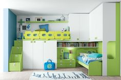 Cool Calm Green White Color Shades Teens Room Design with Awesome Bunk and Loft Beds, Nice Storage Cabinetry and Wall-Shelving, Perfect for Modern Shared Kids Bedroom Design Ideas. Fancy Teens Room Design with Cool Bunk Beds Feature Loft Beds For Teens, Cool Bedrooms For Boys, Modern Kids Bedroom, Modern Bunk Beds, Shared Bedrooms, Teenage Bedrooms, Teenage Room, Bunk Beds With Storage, Cool Bunk Beds