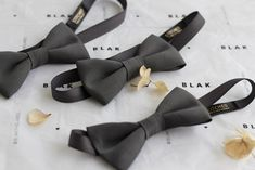 Custom Bow Ties for BLAK Bridesmaid Dresses in Shadow | Stitched Custom Bow Ties, Fabric Samples, Groomsman Gifts, Favorite Color, Gray Color, Bridesmaid Dresses, Bows, Stitch, Fashion