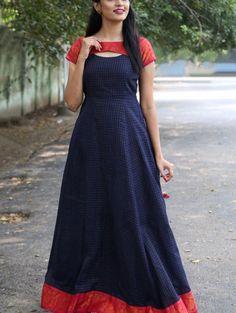 Oxford blue anarkali dress is part of Anarkali dress pattern - This is the madurai sungudi zari cotton maxi dress with a detailed neckline Salwar Designs, Kurti Designs Party Wear, Kalamkari Dresses, Ikkat Dresses, Maxi Dresses, Cotton Dresses, Long Dress Design, Dress Neck Designs, Blouse Designs