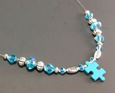 Autism Awareness Necklace, Beaded Necklace, Autism Jewelry, Love and Hope Necklace, Heart Necklace, Puzzle Piece Necklace, Peacock Pearl on Etsy, $25.00