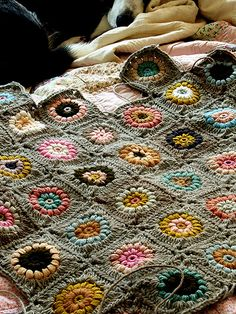 granny squares - colored flowers on neutral background