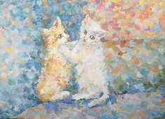 Small Playful Kittens Original Pastel Painting by FrozenLife