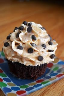 Butterscotch Cupcakes with Pecan Butter Topping and Chocolate Chips #veganMonster
