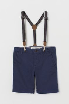 Chino Shorts with Suspenders - Dark blue - Kids Chino Shorts, Boy Shorts, Little Boy Fashion, Latest T Shirt, Organic Baby Clothes, Fashion Company, Suspenders, Boy Outfits, Toddler Outfits
