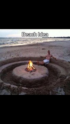 This is the BEST DIY I've seen yet! A DIY bon fire pit with seating carved into the sand. LOL NOW this is how you do a bon fire at the beach lol The Beach, Beach Fun, Beach Trip, Beach Bonfire, Beach Camping, Beach Ideas, Beach Night, Sand Beach, Beach Relax