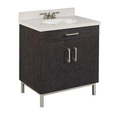 "$329 Shop Style Selections 30-in Driftwood Bradstreet Single Sink Bathroom Vanity with Top at Lowes.com (Style Selections® Bradstreet Bath Vanity Collection    Items Shown    Bath Vanity  Width: 30""  Depth: 21""  Height: 38""  Item #: 402374    Mirror  Width: 26""  Height: 32""  Item #: 402376)"