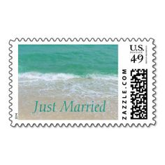 Just Married Beach Stamp