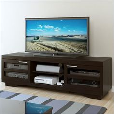 Tv Stand In Walnut With Soundbar Shelf Overstock Com