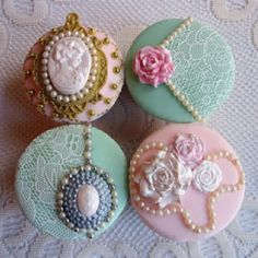 These  cupcakes, by Cooke's Cakes, are unbelievably beautiful with SugarVeil lace.  www.sugarveil.com
