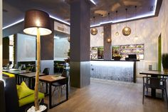 The Green Bar in Thessaloniki center is the ideal meeting point. A place for lunch or dinner, overlooking the city of Thessaloniki. Interior, Hotel Bar, Hotel, Home Decor, Guest Room, Interior Design, Furnishings, City Hotel, Hotel Lobby