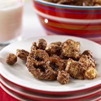 Peanut+Butter+Chocolate+Snack+Mix+by+SPLENDA® 2 cereals, small pretzels coated. 5grams fiber per 1/2 cup