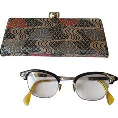 Bakelite Cat Eye Glasses Vintage 1950s Aluminum Mid Century Modern Case http://www.rubylane.com/item/676693-ACC92/Bakelite-Cat-Eye-Glasses-Vintage-1950s