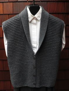 Mari Sweaters MS 196 Classic Shawl Collar Vest pattern by Mari Dembrow Knit Vest Pattern, Sweater Knitting Patterns, Knitting Designs, Knit Patterns, Love Knitting, Knitting Blogs, Crochet Men, Eminem, Sweaters