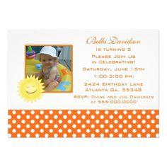 Smiling Sunshine and Polka Dot Party Invitation