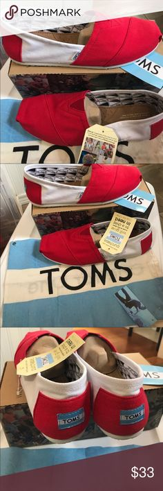 Classic Red and White TOMS U. Of Wisconsin Classics Red and White very summery and crisp. New in box 📦  Light weight canvas slipons, the shoe that made TOMS famous! University of Wisconsin or other schools with Red and White TOMS Shoes