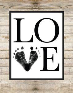 Love Baby Footprint Art 8X10 INSTANT DOWNLOAD by SouthernSpruce - Unisex Nursery Wall Art, Nursery Printable, Footprint Art, Typography