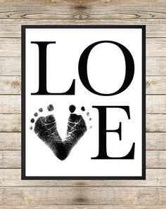 Love Baby Footprint Art 8X10 INSTANT DOWNLOAD by SouthernSpruce - Unisex Nursery Wall Art, Nursery Printable, Footprint Art, Typography