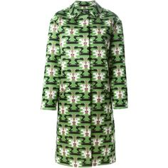 Holly Fulton Printed Coat (17.765 ARS) ❤ liked on Polyvore featuring outerwear, coats, green, colorful coat, green coat, holly fulton and wool blend coat