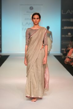 rose ash and silver detail linen sari !