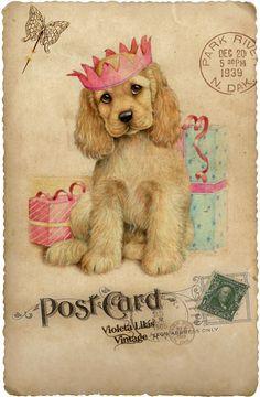 Violet lilac Vintage: Old Cards - Post Cards - Series Animals Images Vintage, Vintage Dog, Vintage Pictures, Vintage Prints, Vintage Greeting Cards, Vintage Christmas Cards, Post Cards Vintage, Christmas Greetings, Decoupage Vintage