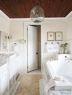 Barnwood Ceiling - Bathroom - I'm not too big on the ceiling but I like the cabinetry and like the open area at the bottom