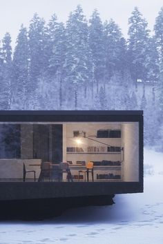 Straight lines and large windows in the middle of what looks like a forest. Truly inspiring architecture.