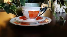 I have six sets available as well as cream and sugar bowl and tea pot. Please see my shop for details. The serving plate measures 7 1/2 and the