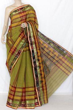 Menhdi Green Maroon Handwoven Dhaniakhali Bengali Tant Cotton Kotki Saree (Without Blouse) 13939