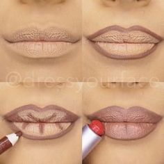 Give the illusion of fuller lips! 1. Moisturize and Conceal lips 2. Line lips with dark liner 3. Create lines in your natural creases from the inside working outward 4. Fill in lips by patting the lighter tone lipstick/gloss into your lips with a lipstick or your hands (For an added boost place a touch of gold in the cupids bow and in the middle of the bottom lip.) All done!