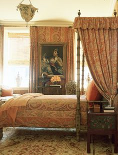 One of my favorite rooms; Charlotte Moss's etherealy beautiful and romantic bedroom with a rare paisley Bessarabian rug.