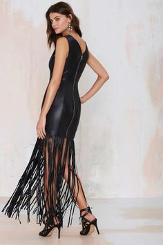 Nasty Gal Dominate Fringe Leather Dress - Going Out | Midi + Maxi | Body-Con | Dresses