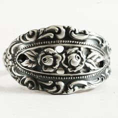 Sterling Silver Rosebud and Lace Spoon Ring by Oneida by Spoonier