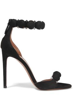 Heel measures approximately 110mm/ 4.5 inches Black suede Concealed zip fastening along back Made in Italy