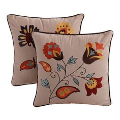 Found it at Wayfair - Andorra Embroidered Cotton Throw Pillow