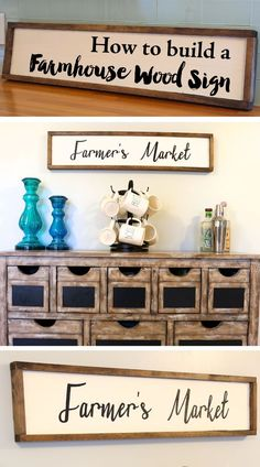 to build a farmhouse wood sign Tutorial on how to build a farmhouse wood sign. Perfect DIY Farmer's Market sign for your Kitchen Decor.Tutorial on how to build a farmhouse wood sign. Perfect DIY Farmer's Market sign for your Kitchen Decor. Diy Wood Projects, Wood Crafts, Woodworking Projects, Diy Crafts, Woodworking Plans, Vinyl Projects, Woodworking Quotes, Woodworking School, Intarsia Woodworking
