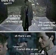 This is how that scene really went. Destiel. Supernatural.