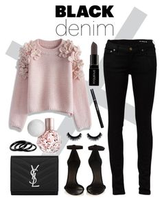 """""""#blackdenim"""" by julietacelina ❤ liked on Polyvore featuring Yves Saint Laurent, Isabel Marant, Chicwish, Smashbox, Furla, women's clothing, women, female, woman and misses"""