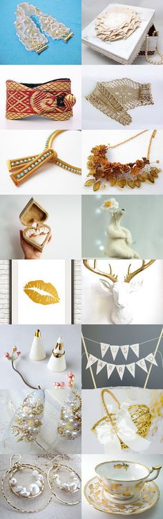 gifts of gold for the white wedding by Nora on Etsy--Pinned with TreasuryPin.com
