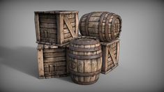 Barrels and crates, Michal Bystrek on ArtStation at https://www.artstation.com/artwork/rzemE