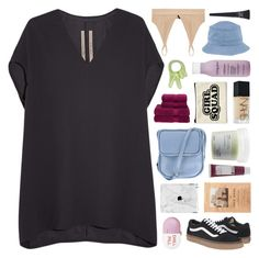 """""""cause the hardest part of this is leaving you"""" by hhuricane ❤ liked on Polyvore featuring Base Range, Rick Owens, Christy, Maybelline, Living Proof, NARS Cosmetics, Jil Sander Navy, Davines, Korres and Vans"""