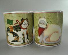 Christmas Kitty Mugs!!! Found at Catnutti's Kitchen http://www.bonanza.com/booths/CatnuttiToo