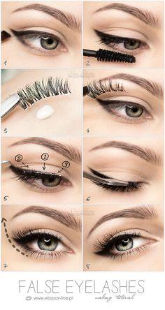 False eyelashes step by step tutorial False Eyelashes Tips, Eyelashes How To Apply, Applying False Eyelashes, How To Apply Eyeliner, Fake Lashes, Metallic Eyeliner, Copper Eyeshadow, Eyeshadow Palette, Sparkle Eyeshadow