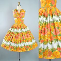 Vintage 50s Dress / 1950s Cotton Sundress BORDER PRINT HALTER Top Yellow Orange Green Pink Floral Full Circle Skirt Pinup Garden Party Small by GeronimoVintage on Etsy