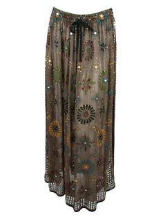 Chan Luu womens sequin maxi skirt brown with floral details skirt OS