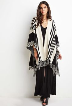 FOREVER 21 Gradated Stripe Sweater Poncho