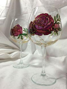 """Бокалы, стаканы ручной работы. Ярмарка Мастеров - ручная работа. Купить Бокал для вина """"Пионы"""" большой. Handmade. Розовый, для девушки"""