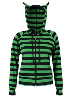 Ensure you look as cute as a kitten with this fun hoodie from Banned. Using black and green stripes, this winter warmer is a great way to…