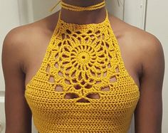 Crochet Strapped Crop Top by ascrochets17 on Etsy More
