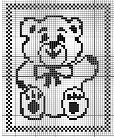 Free Filet Crochet Charts And Patterns Filet Crochet Bear Chart A Perfect For A Baby Blanket